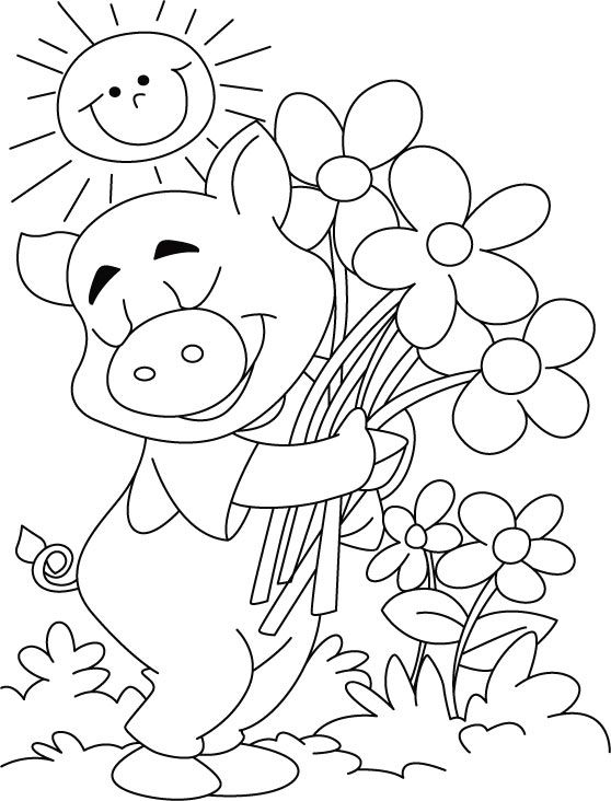 Free Printable Sun Happy Flowers Makes Pig Coloring Pages And Download