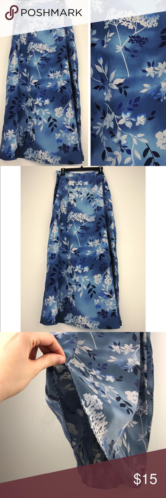Vintage Blue Print Maxi Skirt