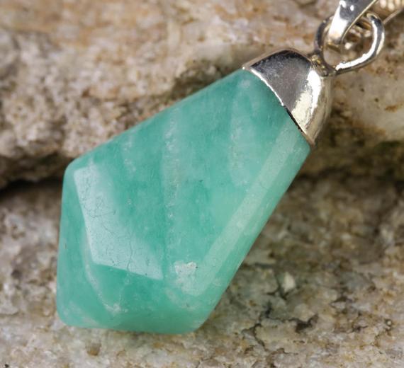 One Amazonite Pendant Amazonite Crystal Point Necklace