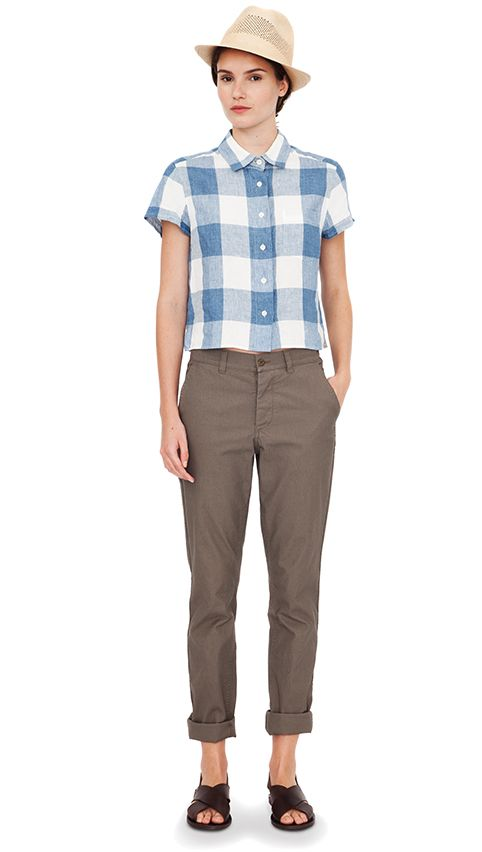 Blue mélange /white check shirt, dark stone cotton trouser (MHL), natural straw Panama hat dark brown leather slide