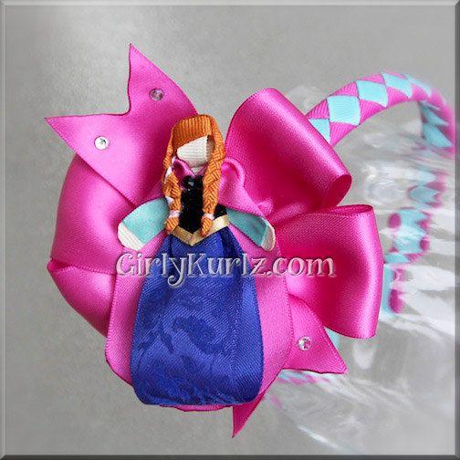 Frozen Anna Headband Anna Ribbon Sculpture Hair Clip by GirlyKurlz