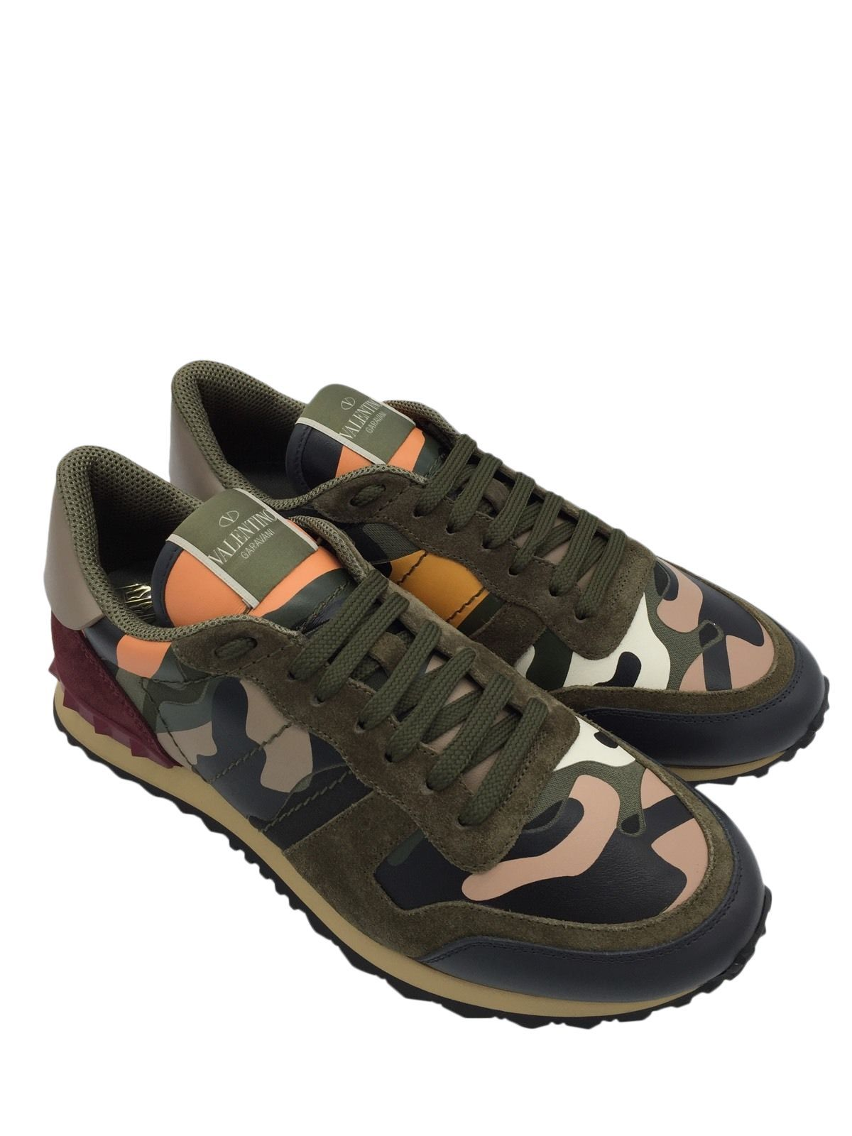 Garavani Rockrunner Camouflage-print Canvas, Leather And Suede Sneakers - GreenValentino