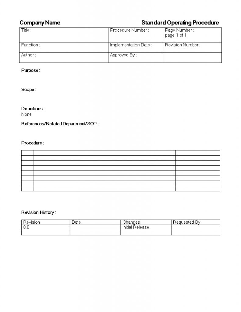 Sop Template Free Standard Operating Procedure Standard