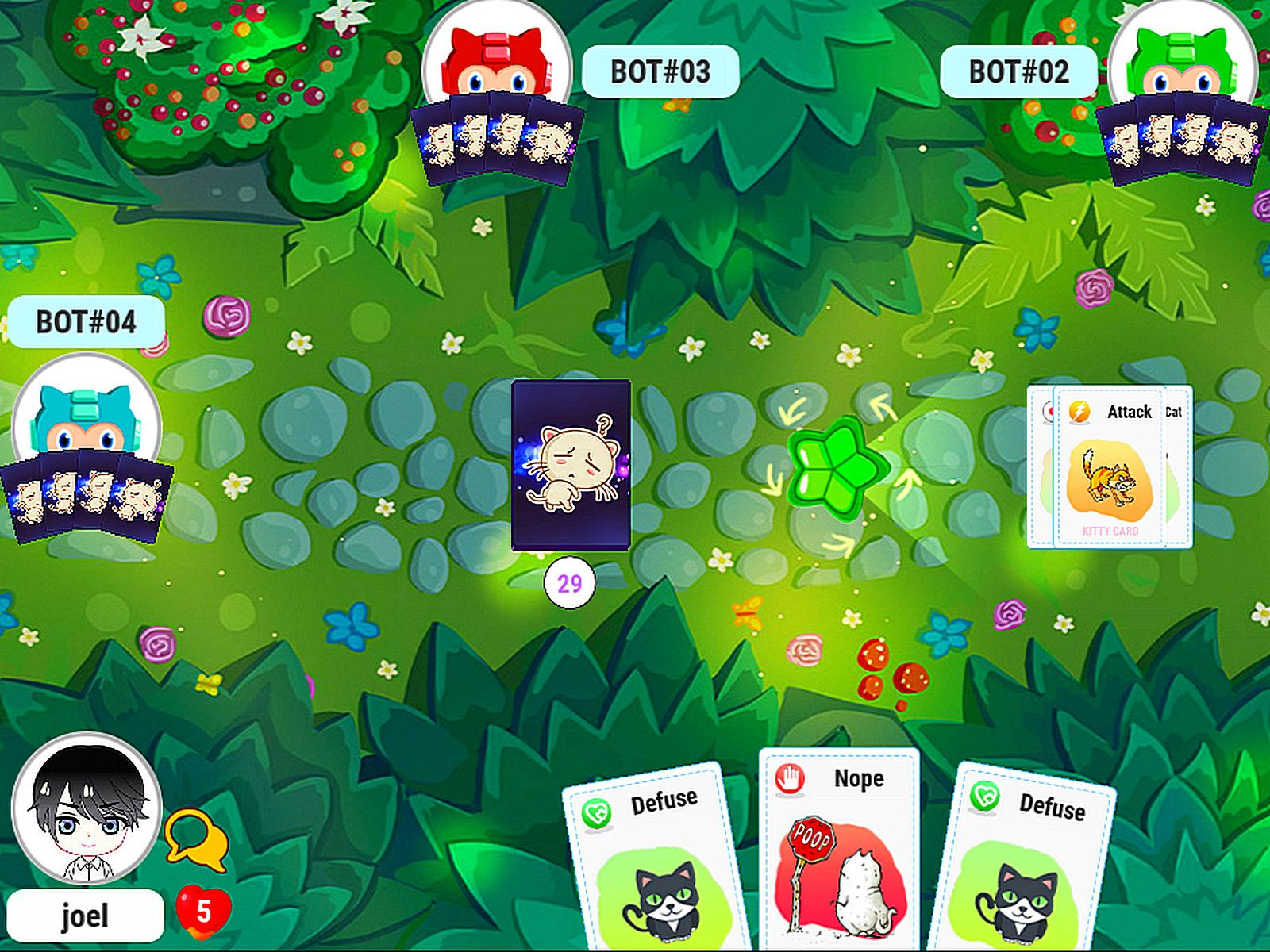 Game Of The Day Kitty Cards An Indie Game Inspired By Exploding Kittens Kitty Cards By Migame Players Are Given 5 C Card Games Magic Cards Online Card Games