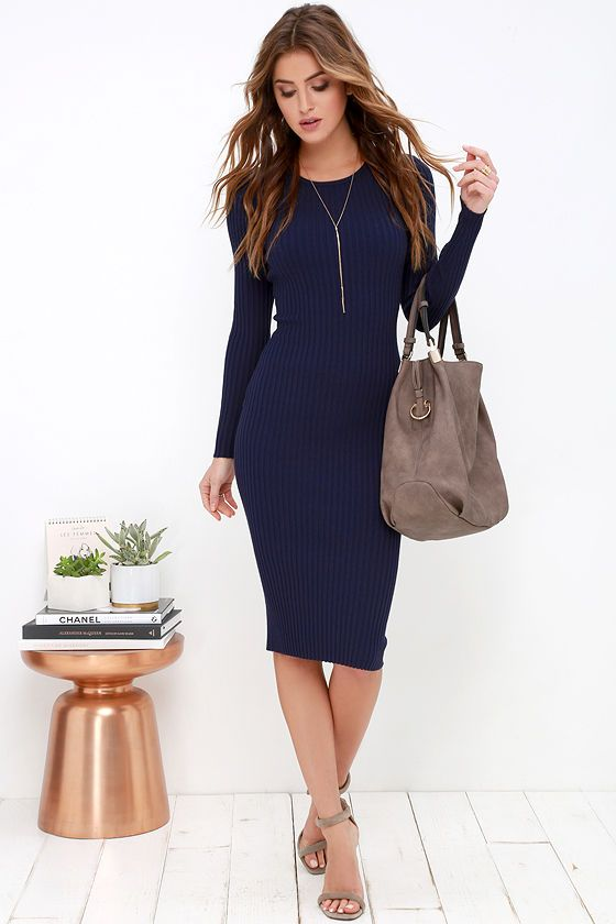 01128cd804 Simply Smitten Navy Blue Sweater Dress at Lulus.com!