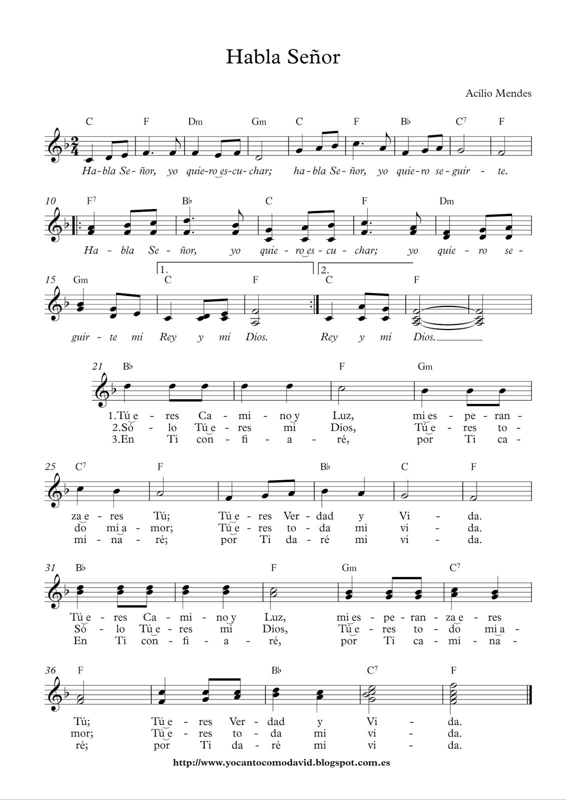 Habla Señor Yo Canto Como David Lecciones De Piano Frases Para Alumnos Musica Partituras