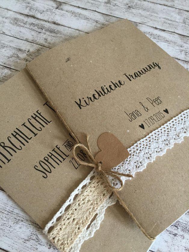 *handmade* Romantischer und moderner Kraftpapiereinband für Euer Kirchenheft. D…