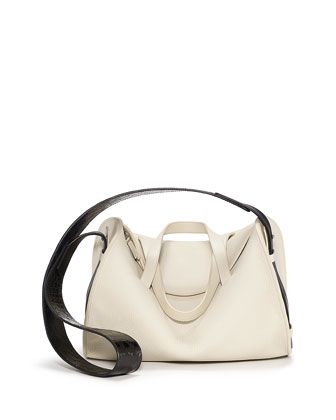 "10"" Drum Leather/Croc Bag, Cream by THE ROW at Bergdorf Goodman."