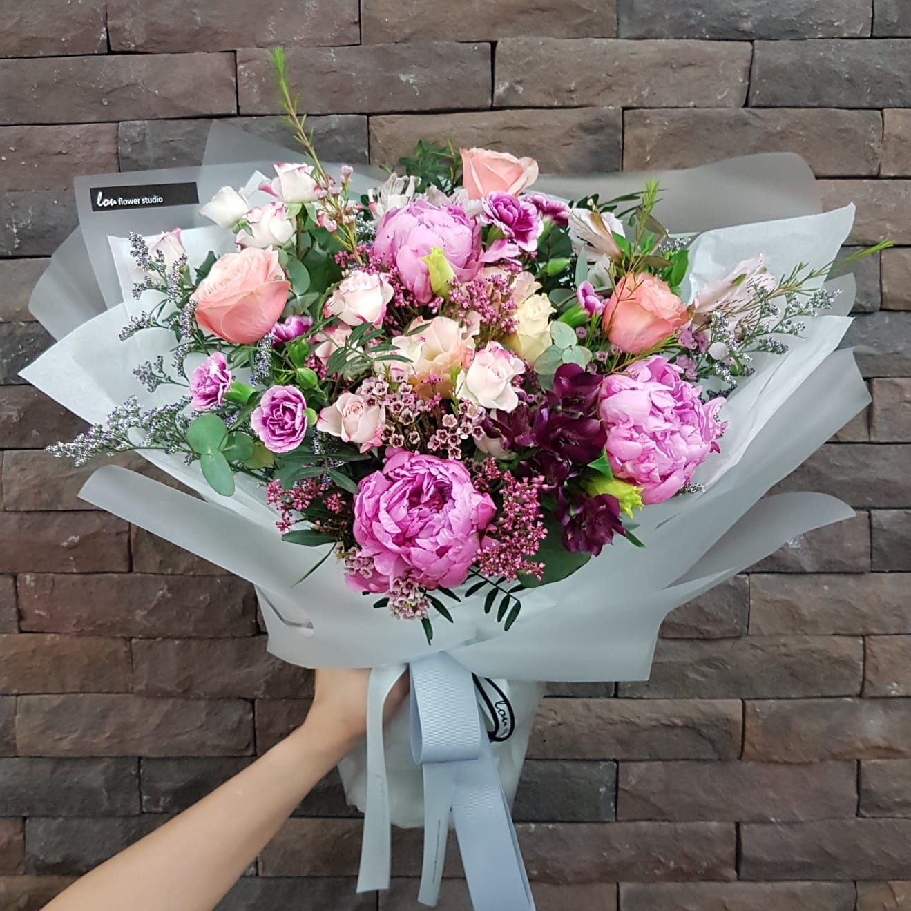 Peonies Are In Season And We Re In Love With These Pink Fluffy Blooms Peony Bouquet Pink Pink Hydrangea Bouquet Peonies Bouquet Bouquet