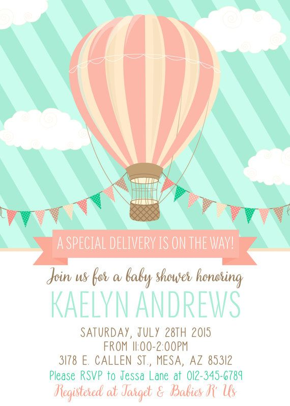 Hot Air Balloon Baby Shower Invitation Mint Coral Baby