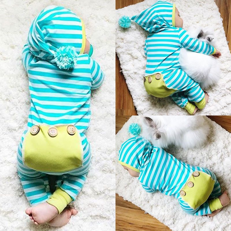 USA Stock Newborn Baby Boy Girl Striped Romper Jumpsuit Bodysuit Outfits Clothes