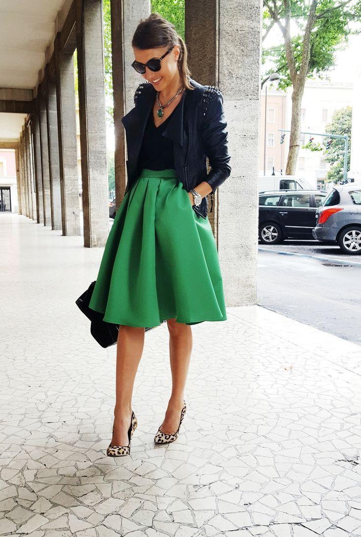 midi green skirt, leo shoes, steve madden, leather jacket, celine ...