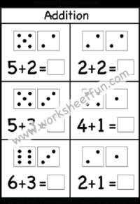 dice addition single digit addition one worksheet. Black Bedroom Furniture Sets. Home Design Ideas