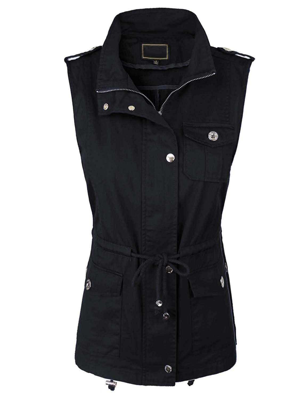 2e37368ae861 Women s Anorak Military Utility Jacket Vest w Drawstring  S-3XL  -   Yjv0028 black - C612MX2UPRJ
