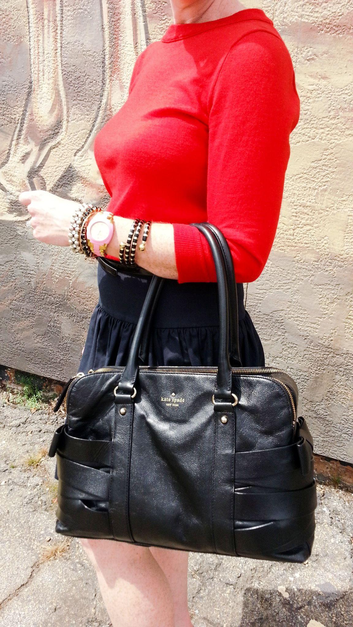 #Cortneybre #FBlogger #RedJCREWSweater #Katespadeblackbag