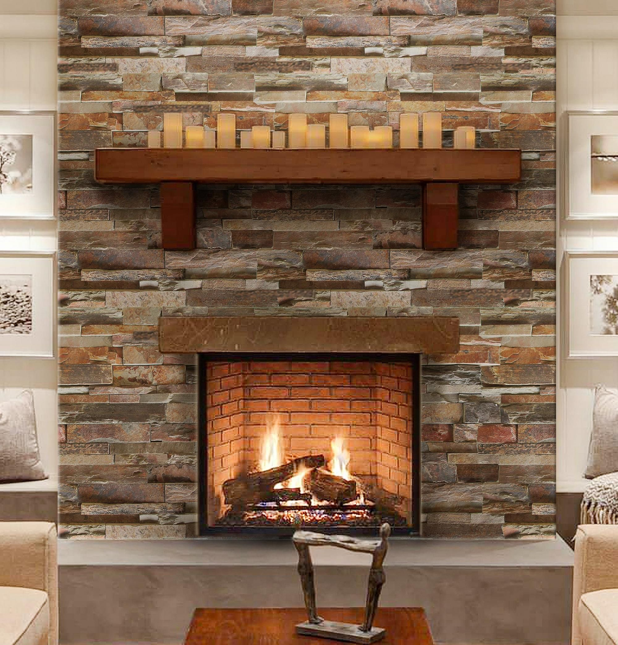 Earth Tone Accent Wall Colors Fireplace: Fireplace Facing, Fireplace