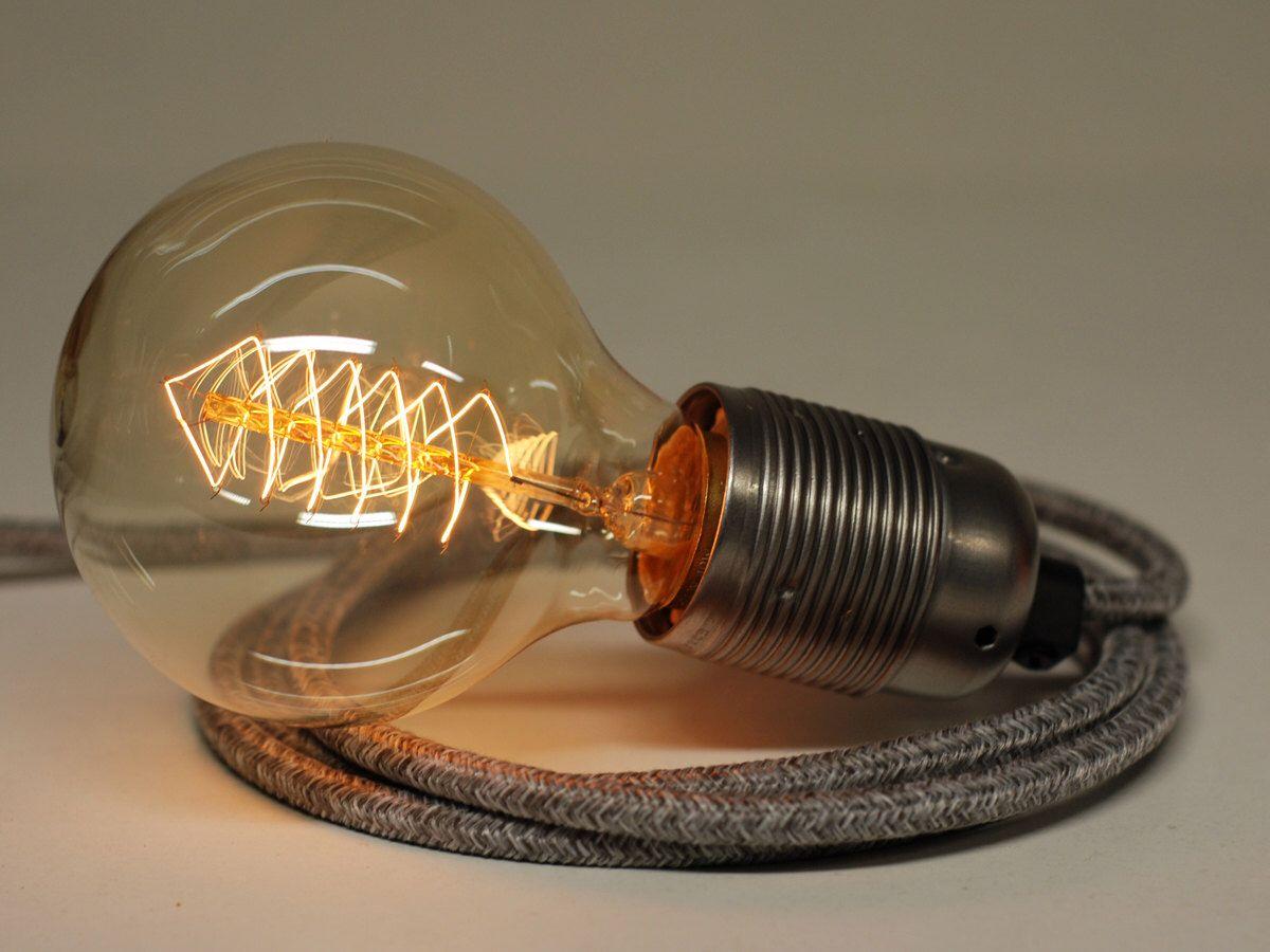 4m Knitted Jumper Grey Fabric Flex Cable Plug In Pendant L& Light Set E27 Steel Fitting u0026 40w Globe Edison Bulb & 4m Knitted Jumper Grey Fabric Flex Cable Plug In Pendant Lamp Light ...