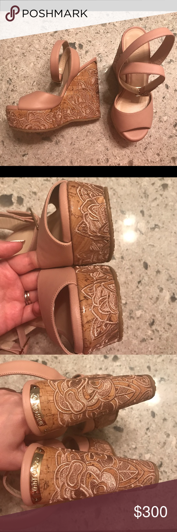 Jimmy Choo platform wedges Size 35.5. Like new condition. Light pink. Everything in my closet must go before February 2017 or will be removed. Jimmy Choo Shoes Wedges