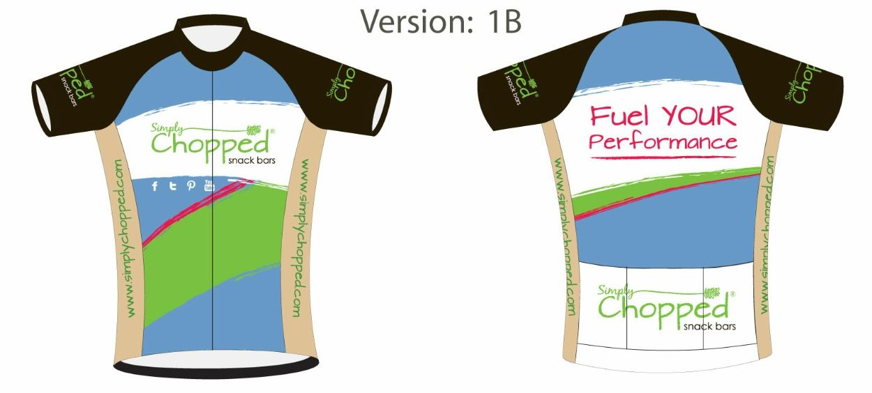 Cycling Jersey for Simply Chopped's Snack Bar company.  Gluten, Dairy, Soy, Wheat, MSG and Cane Sugar free snack bars.  Yum!!!