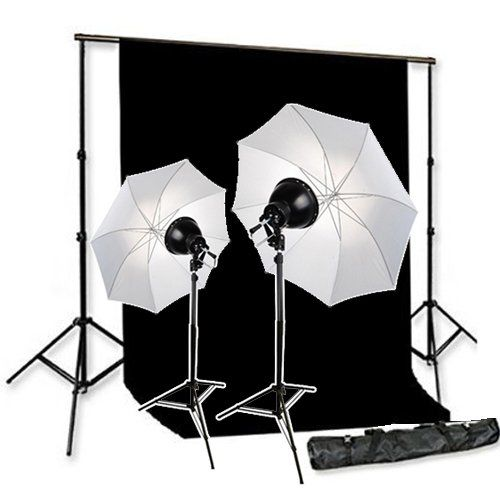 Cowboystudio 500w Premium Photo Studio Reflector Umbrella Continuous Lighting Kit 10 X 12ft Black Muslin B Photo Studio Equipment Muslin Backdrops Photo Studio