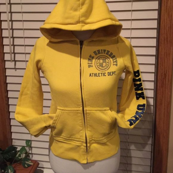 VS Hoodie with Sweats Hoodie plus sweats. Yellow With cute gold dogs. Both size extra small. No stains rips or tears. Hoodie has no ties. Victoria's Secret Tops Sweatshirts & Hoodies