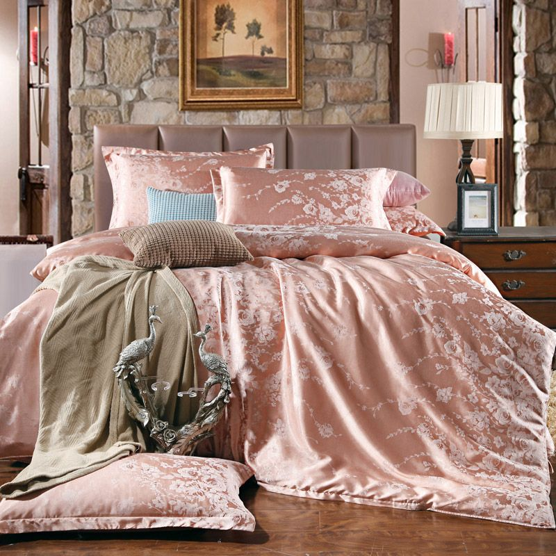 Classic satin jacquard pink bedding set rose bed linen Housse de couette rose gold