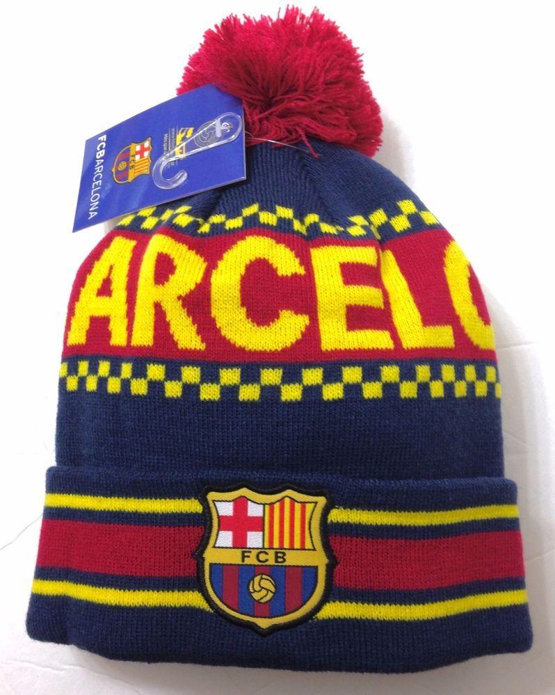 4bd2fab7548 FC BARCELONA POM BEANIE Navy Yellow Red Winter Knit Ski Hat FCB Futbol  Men Women  FCB  FCBarcelona