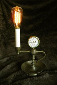 Sale Steampunk Lamp Edison Bulb Brass Steam Gauge Machine Age Industrial Art | eBay