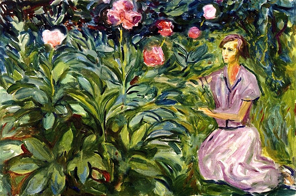 Woman with Peonies Edvard Munch - 1926