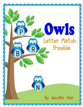 Free:  Owl Letter Match  for Preschool and Early Childhood