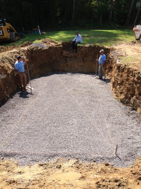 The hole is graded off nicely and ready for a pool.