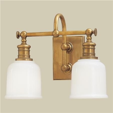 Well Appointed Bath Light 2 Light Brass Vanity Light Bathroom
