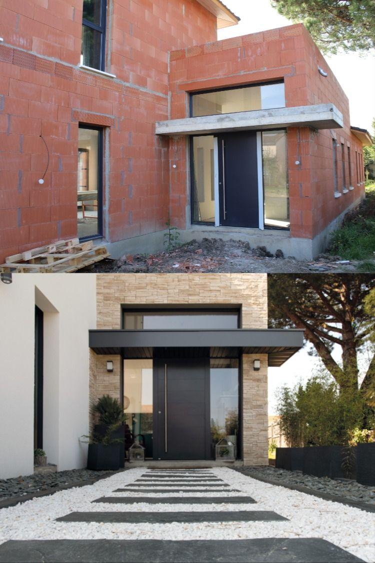 Une Belle Entree Design En 2020 Entree Maison Moderne Facade Maison Entree De Maison Exterieur