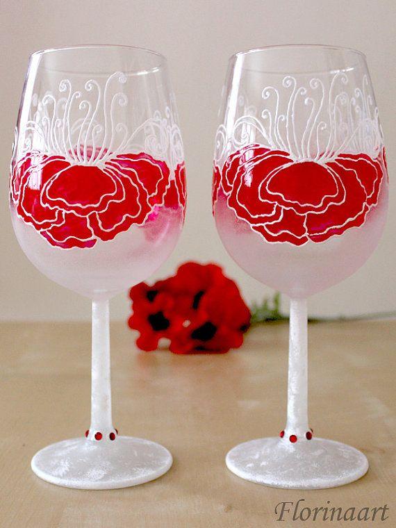 #Wineglasses #Wedding #glasses #Poppy flowers Hand Painted by #Florinaart #UKseller