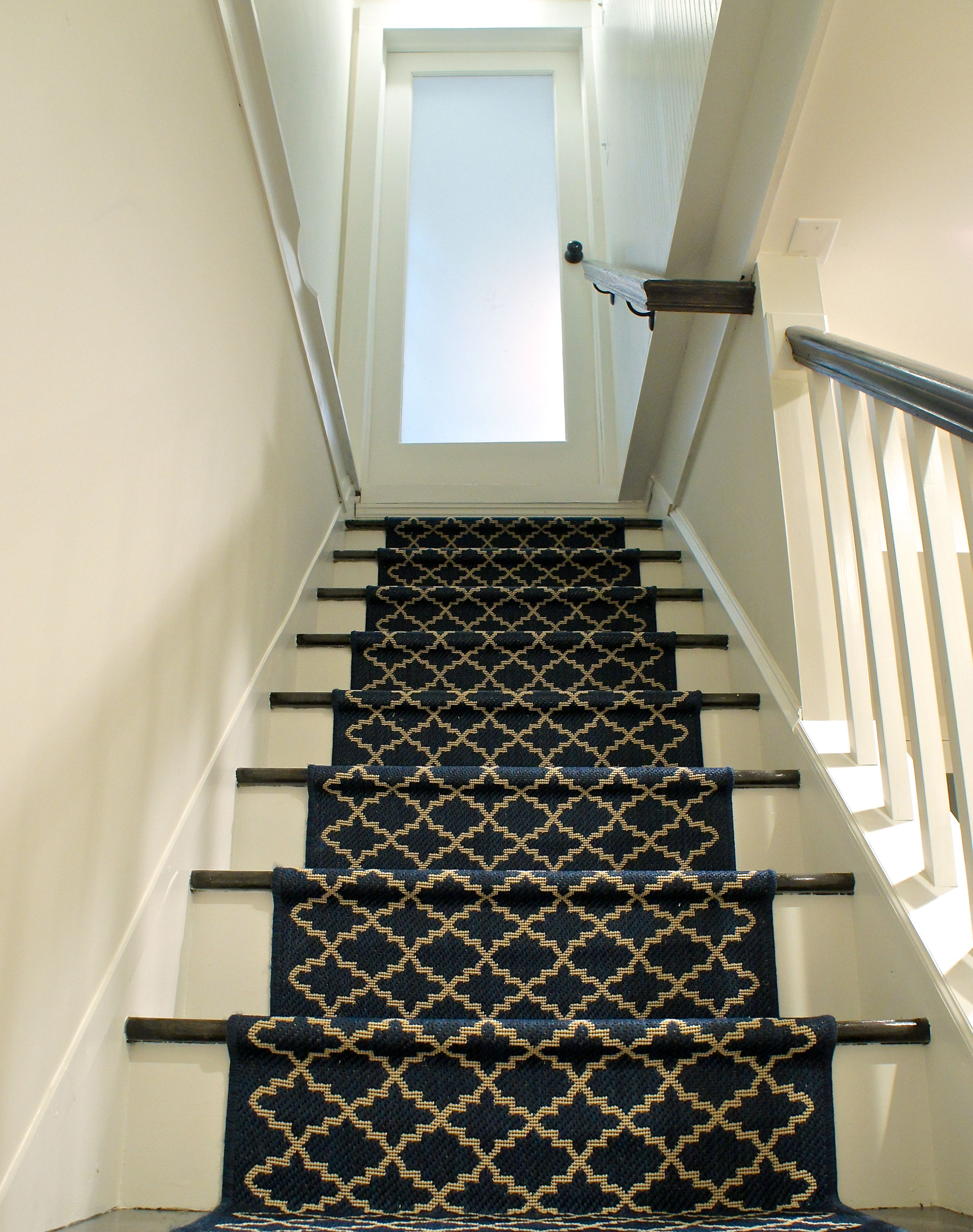 Lighting Basement Washroom Stairs: Modern Yet Classic Stair Runner