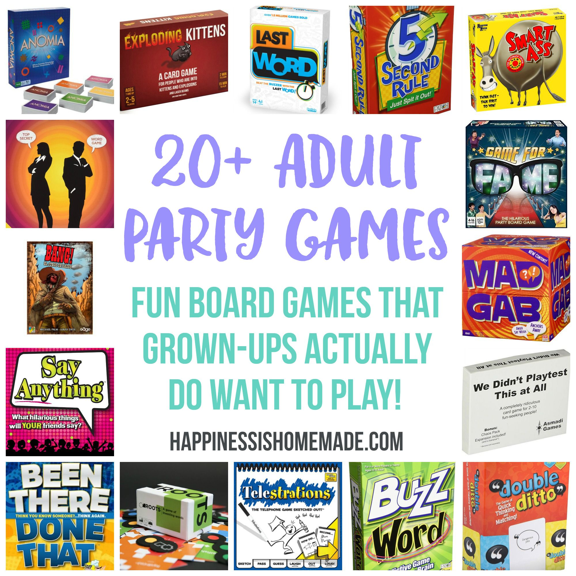 These 20+ board games are the most fun party games for adults! Grown-ups  will actually WANT to play these fun and hysterical adult board games!