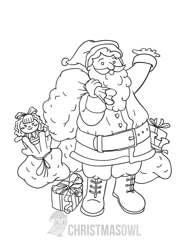 free printable coloring page featuring santa claus with bags of gifts download it at httpschristmasowlcomdownloadcoloring pagesanta claus