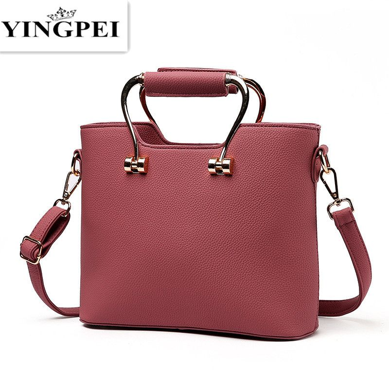 c7dd3f746e YINGPEI Ladies Solid Handbags High Quality Women Classic Brand Design New  Lady PU Leather Shoulder Bags