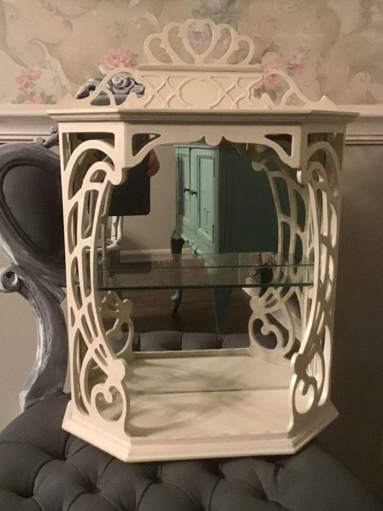 filigree shabby curio cabinet mirror glass shelf display shabby rh pinterest com