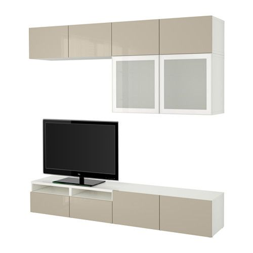 BESTÅ TV storage combination/glass doors - white/Selsviken high - Wohnzimmer Ikea Besta