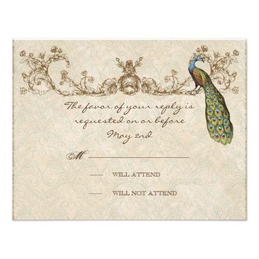 vintage peacock etchings wedding rsvp card peacocks vintage