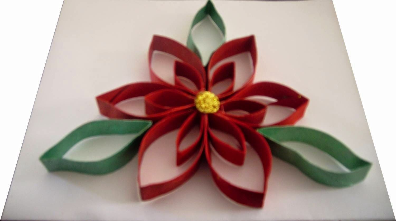 C mo hacer una hermosa nochebuena con rollos de papel - Adornos de navidad con papel ...
