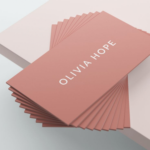OLIVIA HOPE A luxury business card design in white and