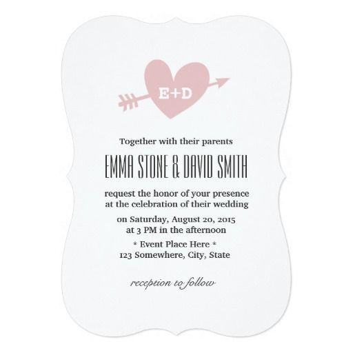 "Simple Pink Heart & Arrow Love Wedding Invitations 5"" X 7"" Invitation Card"