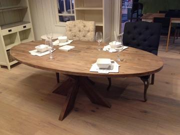 Teak tafel ovaal old grey oud grijs 220x110x75 jpg interieur woning 20 30 jaren stijl - Deco eetkamer oud ...