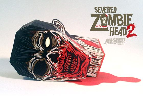 Severed Zombie Head Paper Toy V2 Figuras De Papel Figuras De Sobres De Papel