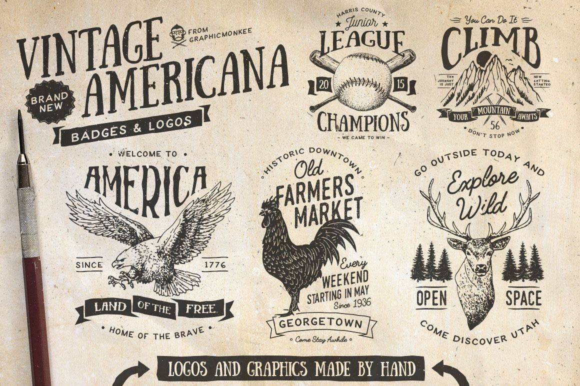 Vintage Americana Badges And Logos By GraphicMonkee On Creativemarket