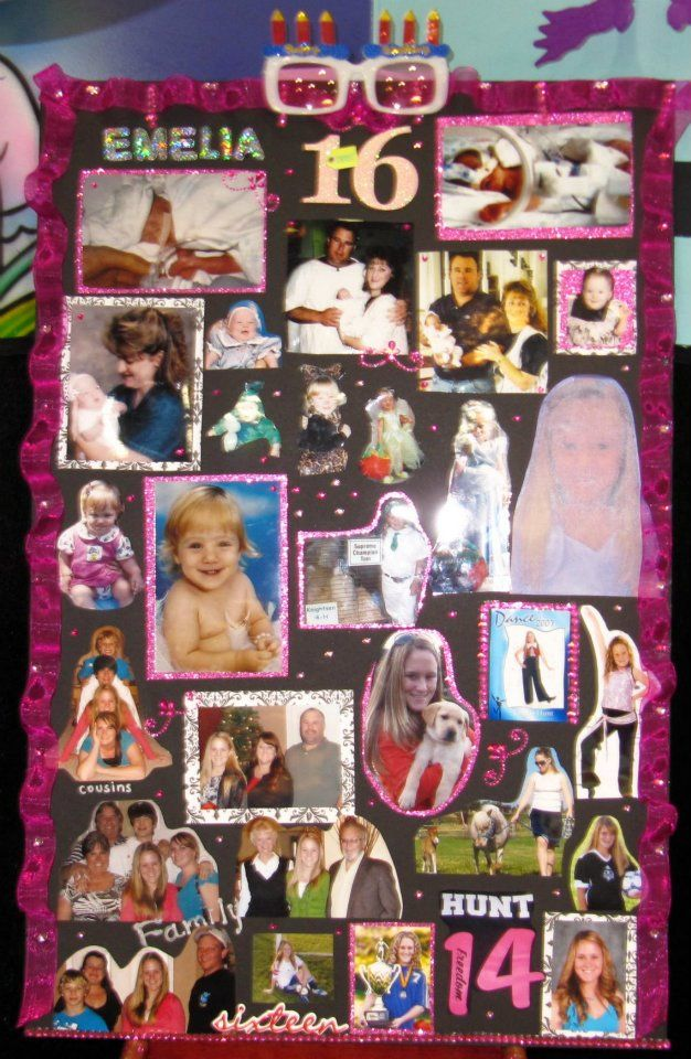 photo collage on poster board perfect for a birthday anniversary