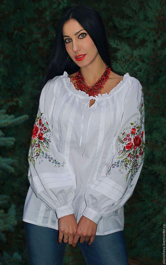 aa8db1004aa Blouses handmade. Dressy white blouse  Flower story  hand stitch. KVITKA.  My Livemaster.Embroidered white blouse
