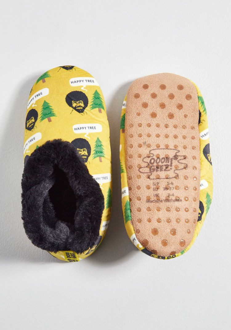 67910a94e907 Come to Perms Bob Ross Slippers Yellow Multi
